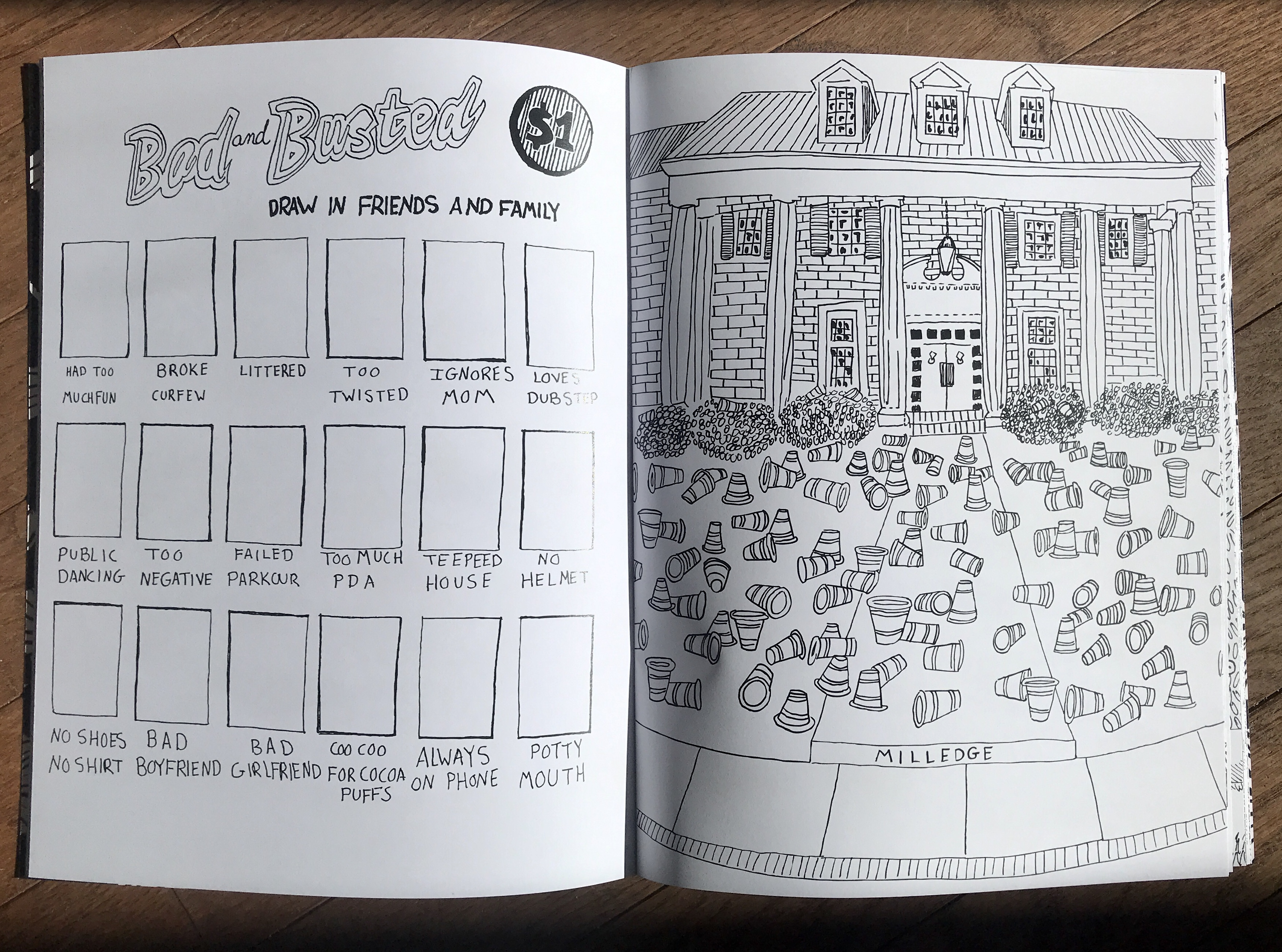 a coloring book interior with an activity page and a fraternity house