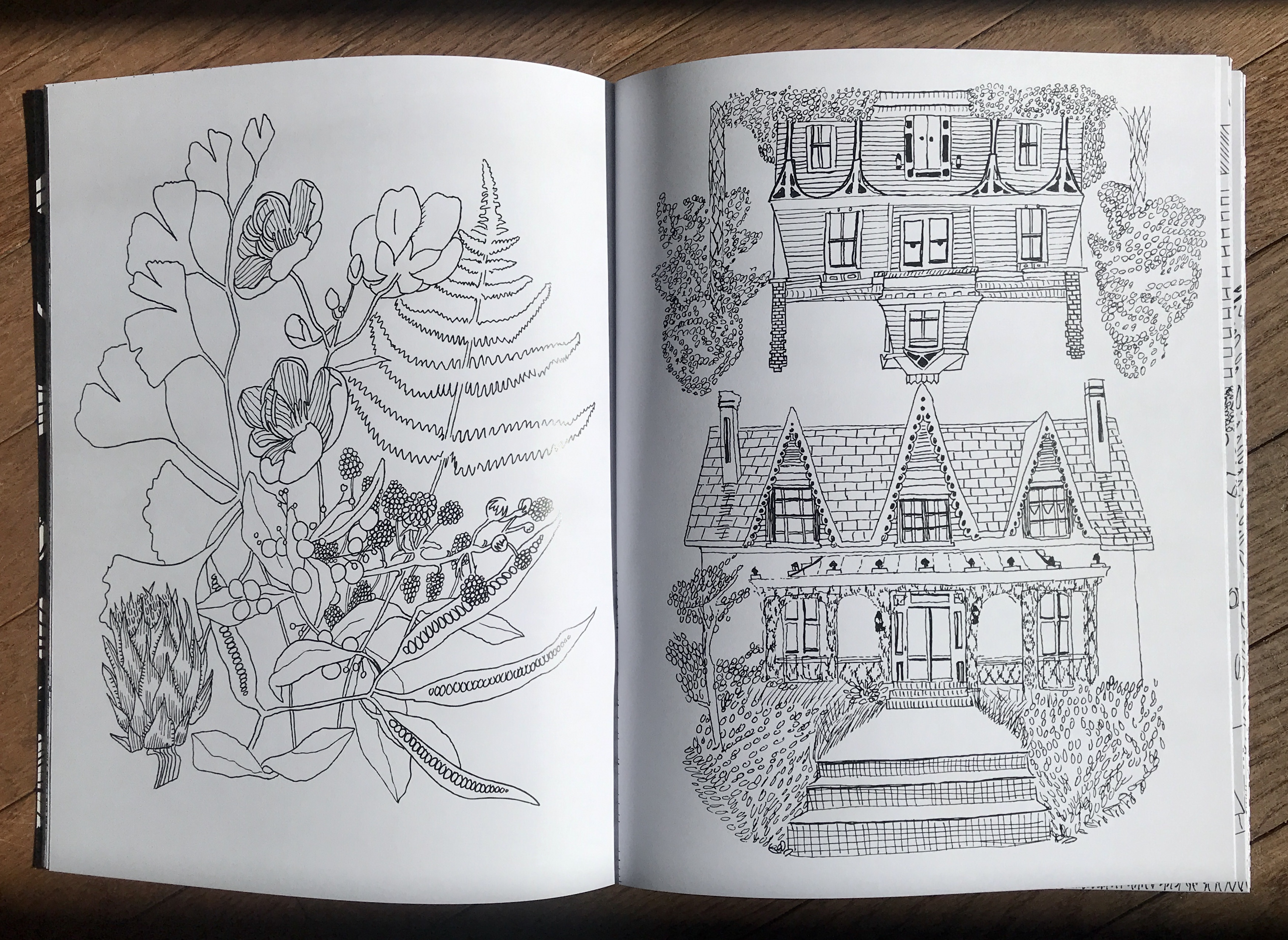 a coloring book interior with a bouquet and homes