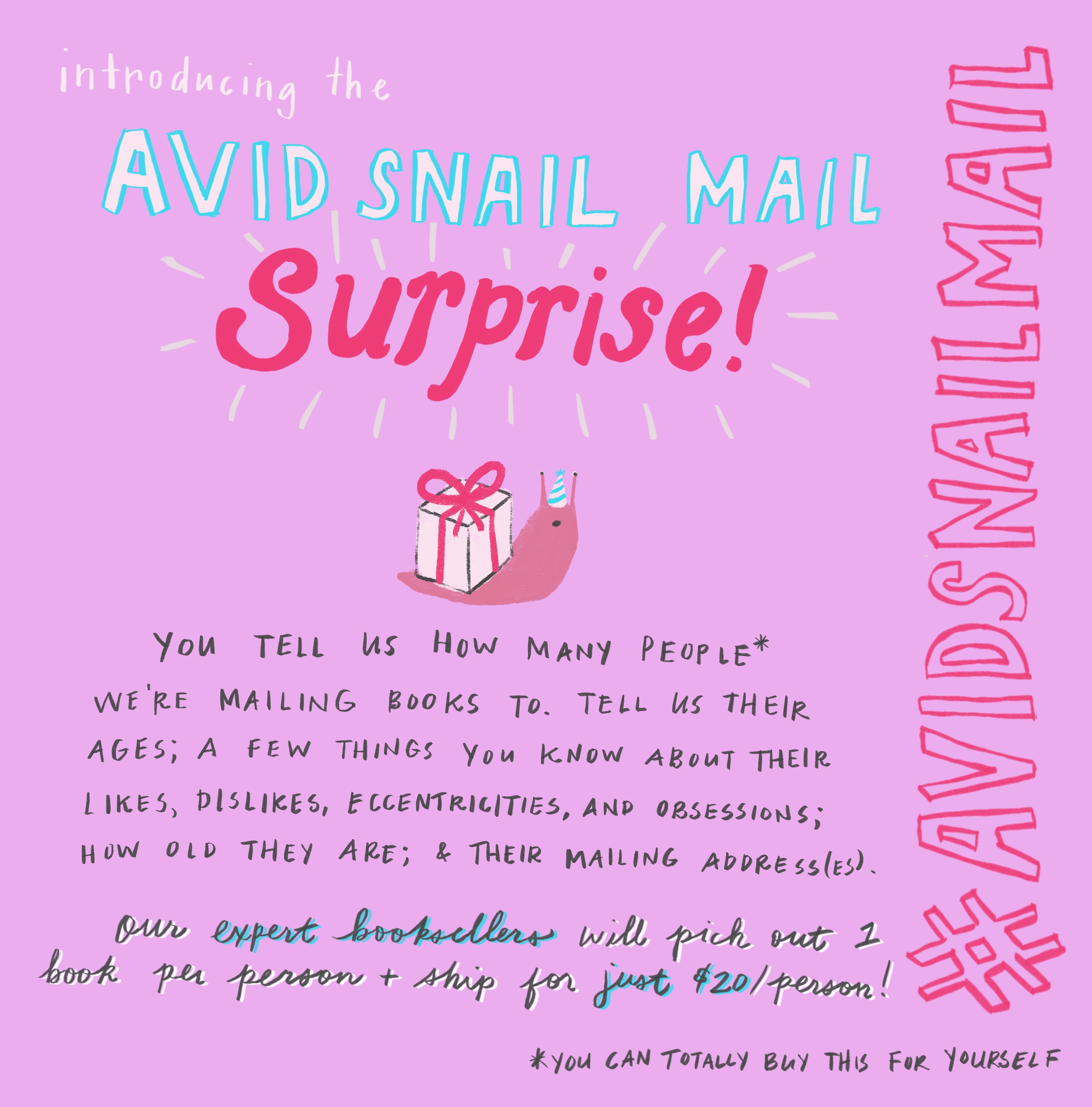 Avid Snail Mail Surprise! - our expert booksellers will pick out 1 book per person and ship for just $20 per person #avidsnailmail