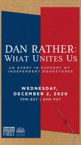 blue and read motif from Dan Rather's book WHAT UNITES US along with event details