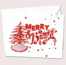 photo of card on white paper with pink and red ink, Merry & Bright Christmas Card Boxed Set (8 cards with envelopes, made in Atlanta by Reyn Paper Co.)