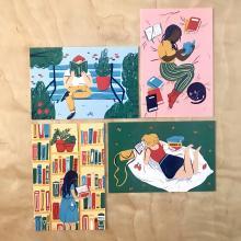 Julie Jarema Reader Postcards (set of 4)