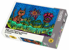 Kitty and Flowers against a Prussian Blue Sky - 1000 Piece Jigsaw Puzzle front of box
